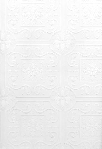 Box Wallpaper - Brewster 429-6757 Paintable Solutions III Scrolls In Boxes Paintable Wallpaper, 20.5-Inch by 396-Inch, White
