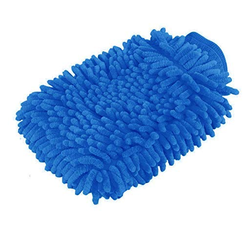 Premium car wash Microfiber Chenille mitt. Super auto Absorbent. Ultrafine Sponge Fiber Glove. Professional Cleaning at Home, Kitchen, Hand car Washing Care. Soap Chemical Products Resistant. (Blue)