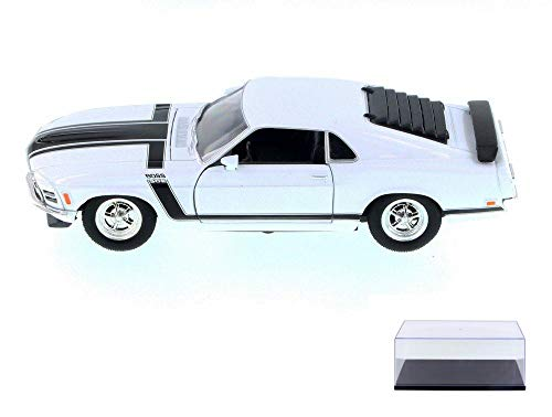 Welly Diecast Car & Display Case Package - 1970 Ford Mustang Boss 302, White w/ Black 22088WWT - 1/24 Scale Diecast Model Toy Car w/Display Case -  22088W-WLY-WHITE-9906BK-BDL