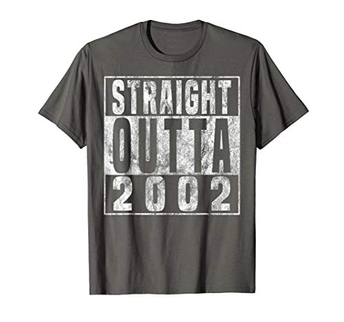 Straight Outta 2002 17th Birthday Gift T-Shirt 17 years old