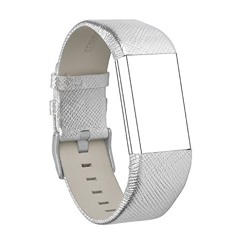 RedTaro Band Compatible with Fitbit Charge 2 Replacement Bands, Classic Genuine Leather Wristband Metal Connectors, Fitness Strap Women Men Small Large (#108 Silver, - Leather 108