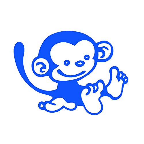 Funny Monkey (Azure Blue) (Set of 2) Premium Waterproof Vinyl Decal Stickers for Laptop Phone Accessory Helmet Car Window Bumper Mug Tuber Cup Door Wall Decoration