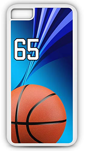 iPhone 6s Case Basketball BK006Z Choice of Any Personalized Name or Number Tough Phone Case by TYD Designs in White Plastic and Black Rubber with Team Jersey Number 65 (Necklace Jasper Fabric)