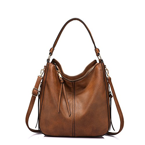 Handbags for Women Small Designer Ladies Hobo bag Bucket Purse Faux Leather - Hobo Dark Brown Handbags