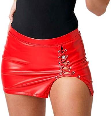 Falda de Piel sintética para Mujer, Color Negro/Rojo, Sexy, con ...