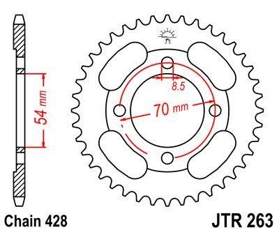 JT Rear Sprocket JTR263 36 Teeth fits Peugeot 110 Vox 13
