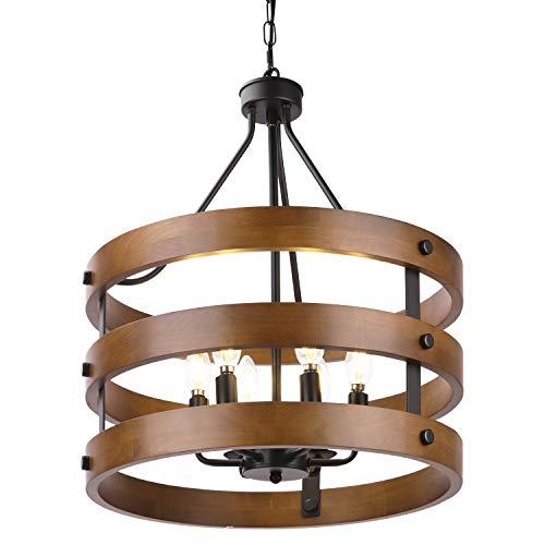 Metal and Circular Wood Chandelier Pendant Light Oil Black Finishing Retro Vintage Industrial Rustic Ceiling Lamp Light
