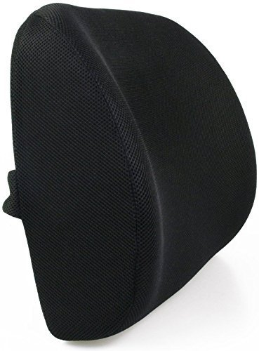 Lumbar Support, FitPlus Premium Deluxe Thick Lumbar Support Cushion Memory Foam! - With 3D mesh Cover For Home Office Or Car Seat Cushion (Black)
