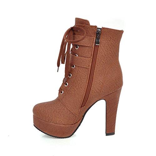 JIEEME Ladies Fashion Lace-up Round Toe Block Heels high Heels Black Brown Ankle Women Boots Brown G6SM5TyJNy