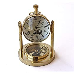 Collectibles Buy Table Decorative Marine Desk Clock Brass Finish Handmade Authentic Functional Clock