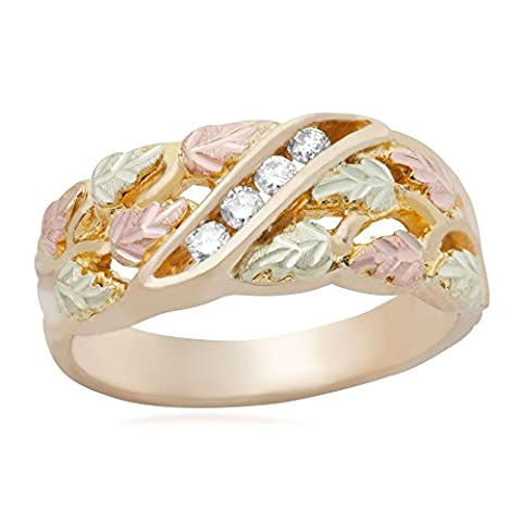 Women's Diamond with Leaves Wedding Band, 10k Yellow Gold, 12k Green and Rose Gold Black Hills Gold Motif, Size - Black Hills White Gold Bands