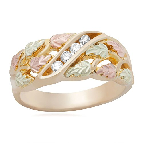 Women's 4-Stone Diamond Wedding Band, 10k Yellow Gold, 12k Pink and Green Gold Black Hills Gold Motif, Size 5.5 by Black Hills Gold Jewelry