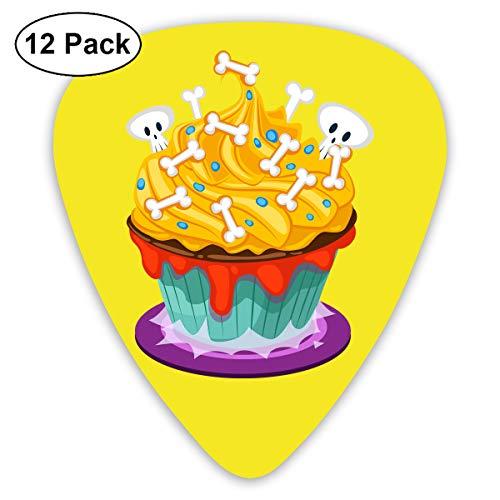 Qbeir 12-Pack Guitar Picks Plectrums 0.46mm / 0.71mm / 0.96mm Halloween Cake Celluloid for Bass Ukulele