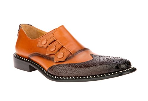 Liberty Men's Genuine Leather Triple Monk Strap Loafers Wing Tip Dress Shoes -