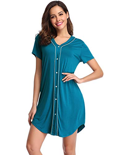 Lusofie Sleep Shirts for Womens Short Sleeve Nightgowns V-Neck Button Down Sleepwear (Teal, M)