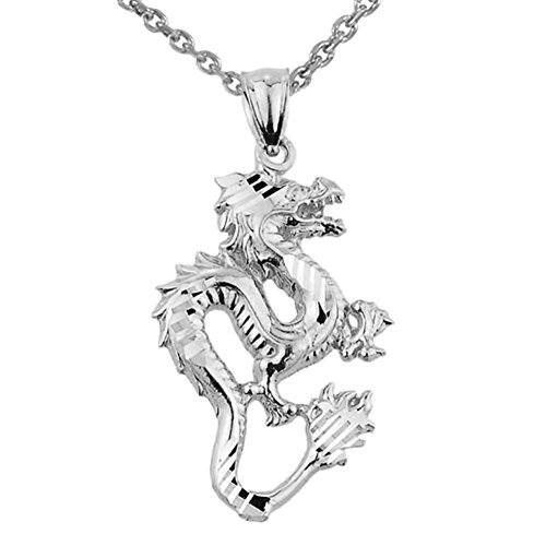 Chinese Dragon 14k White Gold Charm Pendant Necklace, 16
