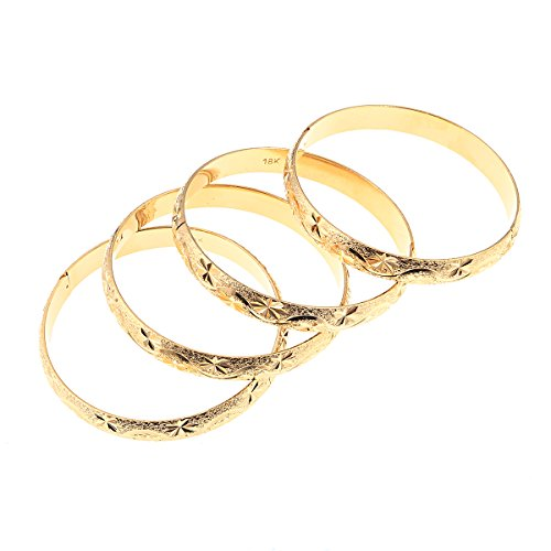 4pcs Dubai Gold Bangle Bracelet 18k Gold Plated Women Decoration Party Bangle African Ethiopian Jewelry (E)
