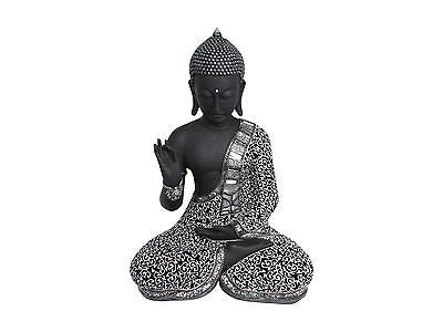 41CM Black and Silver Pease Pose Thai Style Buddha Resin by asah