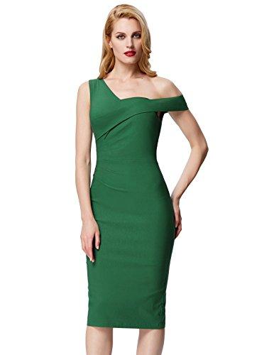 1 Sleeveless 1950s Dark Pencil Fitted Slim Green Retro Bodycon Poque Women's Dress Belle Stretchy Dress qHwnBIf6Tn