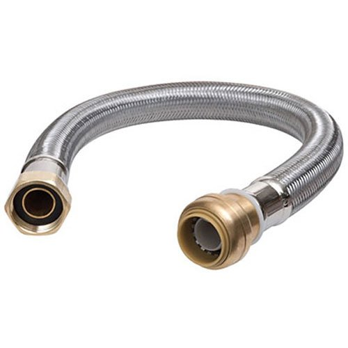 SharkBite U3088FLEX15LF Flexible Water Heater Connector 3/4 inch x 3/4 inch x 15 inch, Push-to-Connect Braided Stainless Steel Water Heater Hose