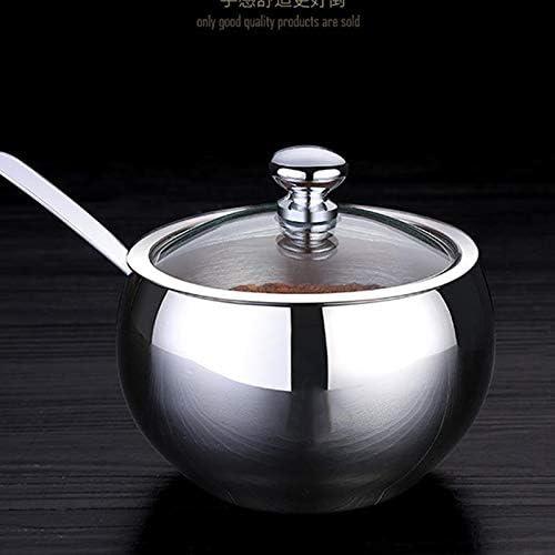 Tee Zucker Kaffee Multifunktions Salz Box Gew/ürzglas Gew/ürzbeh/älter f/ür Salz Kr/äuter Zuckerdose mit L/öffel und Glasdeckel Fablcrew Edelstahl Zuckerdose