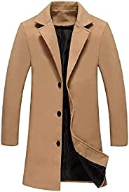 WangHuaTai Men Winter Solid Color Single-Breasted Wool Blend Pea Coat