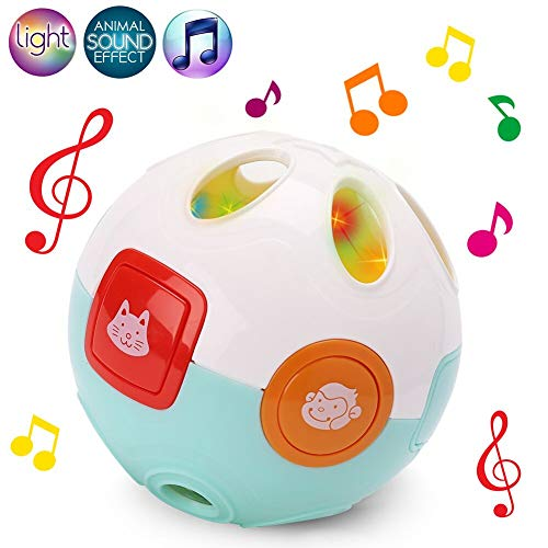 Baby Musical Flashlight Moving Crawling Learning Ball for Infant, Interactive Joyful Crawl Rolling Ball Toy with Melody Sounds, Baby Sensory Ball Toys for Kids 0-24 Month, Battery Included