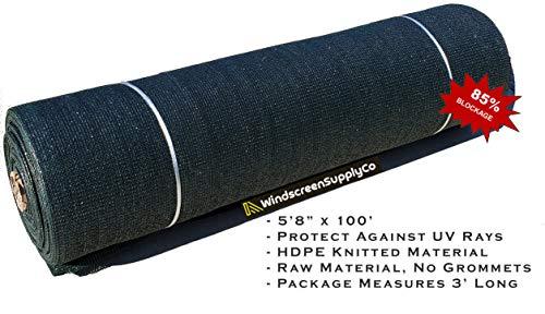 FenceSmart4U 5.8 ft. X 100 ft, Dark Green 85% UV Block Sun Screen Privacy Screen Windscreen Shade Cloth Mesh Fabric (Raw Roll - No Grommets), Dark Green