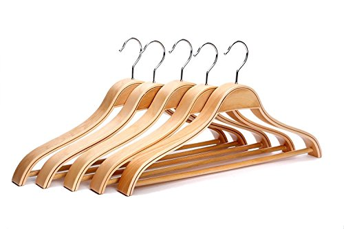 JS HANGER Heavy Duty Solid Wide Shoulder Wooden Suit Hangers Natural Finish, 5-Pack