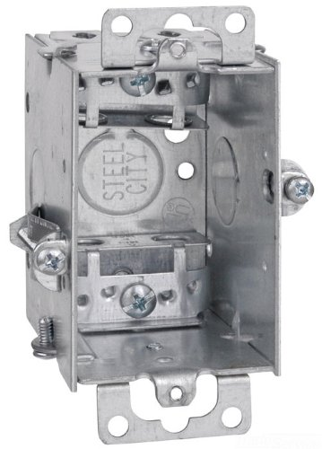 Thomas & Betts LXOWC-25 3-Inch Length by 2-Inch Width by 2-1/2-Inch Depth Galvanized 1 Gang Old Work Welded Construction Gangable Switch Box, 25-Pack
