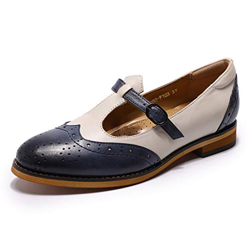 Mona flying Womens Leather Mary Jane Flats Penny Loafers Vintage Shoes for Ladies Womens Girls Blue/Off White ()