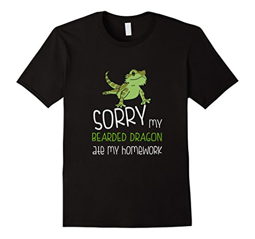 Men's FUNNY BEARDED DRAGON T-SHIRT ATE HOMEWORK Student School 3XL (Bearded Dragons In Costumes)