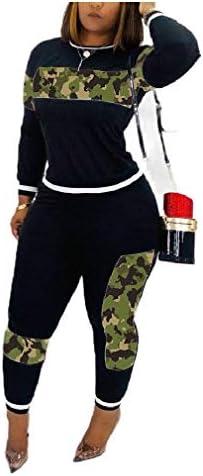 Candiyer Women's 2pcs Camo Training Pullover Long-Sleeve Athletic Joggers Jog Set
