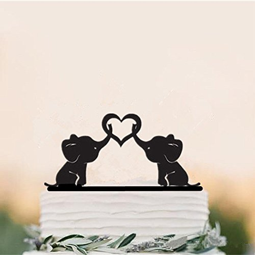 Acrylic Cake Topper For Wedding Party Decoration Elephant Couple Wedding Cake Topper Cake Accessory