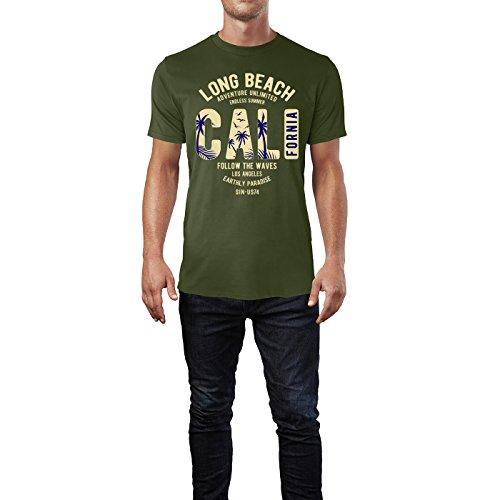 Sinus Art ® Herren T Shirt Long Beach California ( City_Green ) Crewneck Tee with Frontartwork