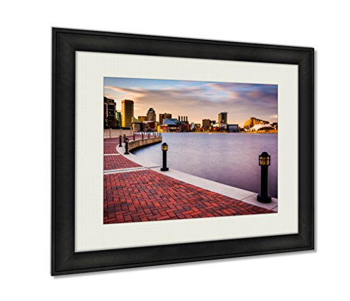 Ashley Framed Prints Long Exposure Of The Skyline And Waterfront Promenade In Baltimore Maryland Wall Art Decor Giclee Photo Print In Black Wood Frame, Soft White Matte, Ready to hang 16x20 art (Exposure Multi 16x20 Photo)