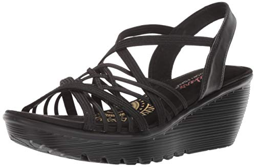 Skechers Women's Parallel-Crossed Wires-Multi Gore Slingback Sandal Wedge, Black, 5.5 M US