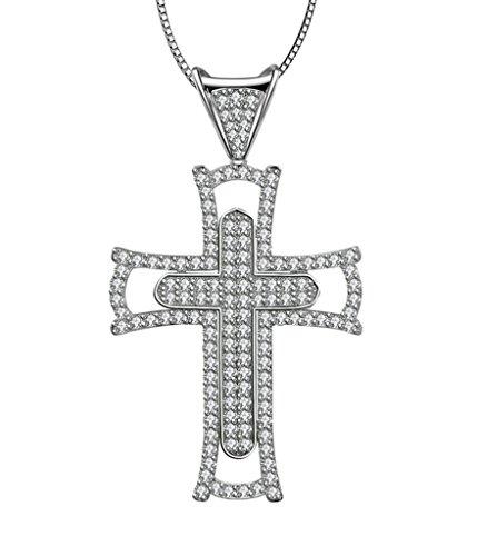 Aooaz Femmes Mesdames Argent Pendentif Collier Double Croix Crucifix Zircon Cubique