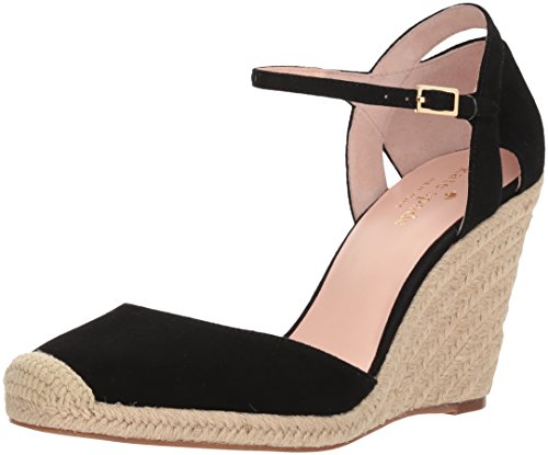 Kate Spade Women's Giovanna Espadrille Wedge Sandal Black Kid Suede N219stKHtf