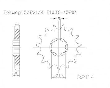 Pignone a 15/denti in acciaio 520er suddivisione 5//8/X 1//4