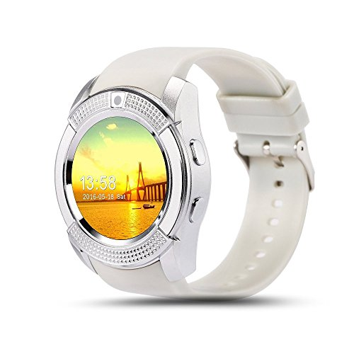Bluetooth Smart Watch,Wrist Watch Bracelet with SIM Card Slot Camera Phone Calls Pedometer Music Playing Alarm Clock Smartwatch for Android Phone ()