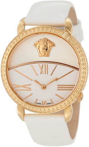 Versace Women's 93Q80D002 S001 Krios White Enamel and Sunray Dial Patent Leather Watch - Enamel Dial Watch