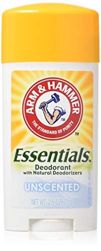 Arm & Hammer Essentials Natural Deodorant Solid, Unscented, 2.5 Ounce (Pack of 3)