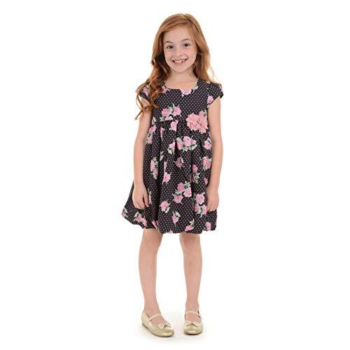 Laura Ashley Girls Cap Sleeve Bubble Hem Dress, Black/Pink, 2T ()