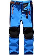 Jessie Kidden Kids' Outdoor Hiking Soft Shell Windproof Waterproof Snow Ski Pants, Warm Climbing Insulated Trousers for Boys Girls