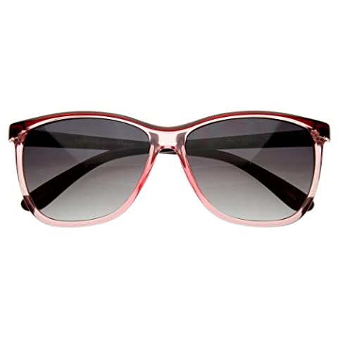 zeroUV - Translucent Clear Plastic 60s Era Classic Retro Horn Rimmed Style Sunglasses (Red-Pink)