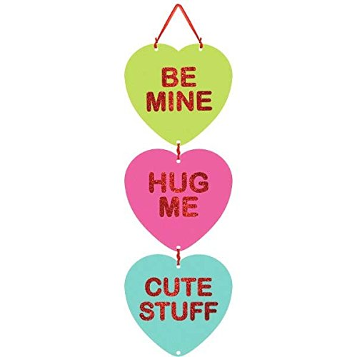 amscan Blushing Valentine's Day Candy Heart Medium Sign with Ribbon Hanger Party Decoration, Board, 18