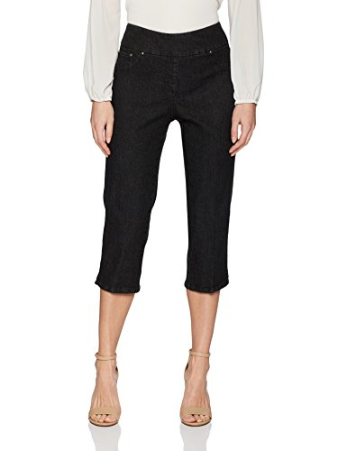 Ruby Rd. Women's Pull-On Extra Stretch Denim Cropped Capri, Black, 10 (Black Cropped Jeans)