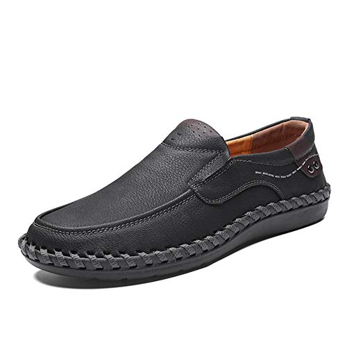 Mens Leather Boat Shoes Slip On Casual Premium Loafers Comfortable Dress Driving Shoes Walking Shoes Black