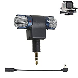 Microphone for Gopro, gopro accessories External Stereo Microphone 3.5 mm Mini USB Mic Adapter Cable for GoPro Hero 3 3+ 4 Action Camera